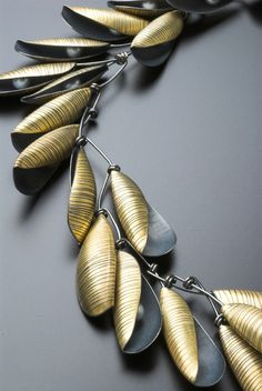 Jane Adam - pod necklace in scribed oxidised silver and gold bimetal with freshwater pearls (detail)  Length 450mm