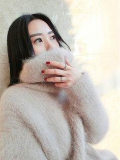 Faux Cashmere Women Autumn Baggy Pullover Chic Turtleneck Knit Warm Coat Sweater