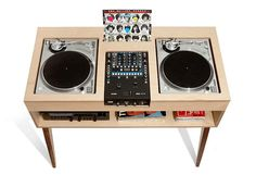 The DJ Stand is another beautifully handcrafted, mid-century–inspired piece of furniture by Atocha Design. Made to order according to your needs, the minimalist, old-school stand has room for two turntable and a mixer, the shelf below allows you to c Dj Stand, Record Stand, Diy Bureau, Dj Table, Tables, Petite Console, Dj Setup, Studio Setup, Dj Gear