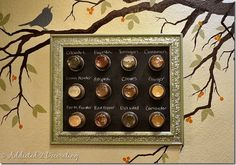 Framed Magnetic Chalkboard Spice Rack turn a frame, jelly jars, and a metal vent into a space saving spice rack