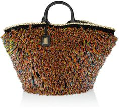 Miss Kendra Raffiatrimmed Straw and Leather Shopper - Lyst