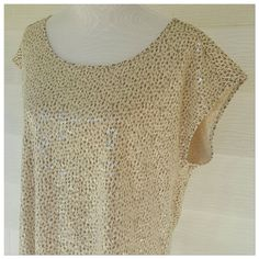 Sequined Ann Taylor top Sassy printed and sequined top from Ann Taylor.  Dress it up or dress it down! Cute little sleeves. Measures 23 bust by 26 length.  Size xl. Pretty creamy butter color LOFT Tops Tees - Short Sleeve