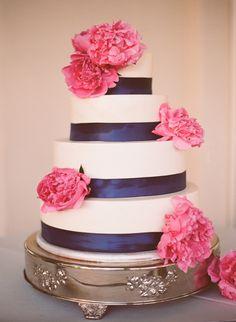 #Cake | Navy Ribbon + Pink Peony | Raya Carlisle Photography | See the wedding on http://www.StyleMePretty.com/2013/01/02/fresno-california-garden-wedding-from-raya-carlisle-photography/