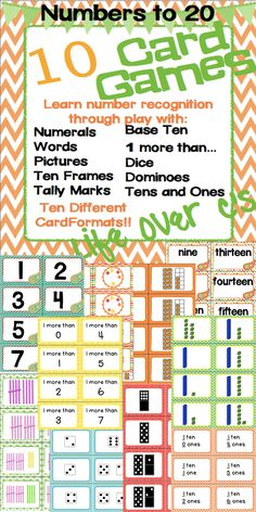 Set of 10 Math Card Games geared toward number recognition. 10 different card formats: numeral, word, picture, tally marks, base ten blocks, dominoes, dice, tens and ones, 1 more than, ten frames. Lots of ways to differentiate!! $