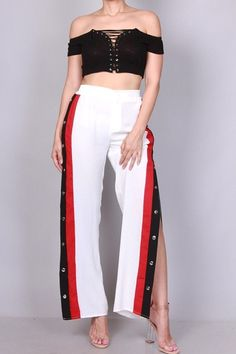 Track Pant Side Slit White Pant with red Stripes