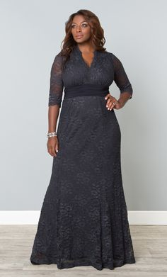 Don't miss out on huge savings with our plus size Screen Siren Lace Gown in vintage lace. Shop our entire made in the USA collection online at www.kiyonna.com.