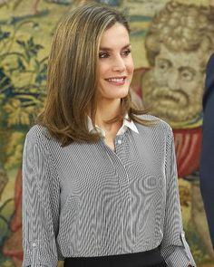 Queen Letizia of Spain receives the representatives of the Vianorte-Laguna Foundation at the Zarzuela Palace on February 15, 2017 in Madrid, Spain. Vianorte Foundation is helps people suffering from Alzheimer who need palliative care.