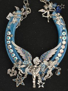 Kirks Folly Blue & Silver Toned Protected By Angels Horseshoe Ornament