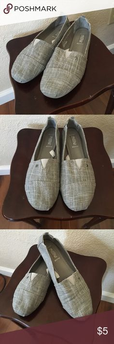Basic Gray Slip-Ons! These basic slip-ons are extremely comfortable and are perfect for running errands, wearing to school/work, days in the park, etc! They come with an elastic heel that allows them to shape comfortably to any heel, and a cushioned sole! Lightly worn! Shoes Flats & Loafers