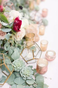 One quick tip for wedding photographers on how to shoot stronger reception details! • Wedding Photography Tips • Wedding reception details with desert succulents and gold accents