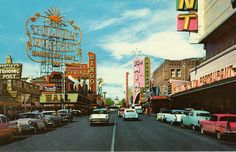 Fremont St and 2nd, c. 1958-1960from a postcard published by Curteich Co. of Chicago. IL. The Golden Nugget was completely revamped in 1958, and still operating in 2013. Boulder Club closed in 1960. Red brick building on the right is Binion's Horseshoe, the former Apache Hotel