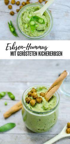 Erbsen Hummus mit gerösteten Kichererbsen - vegan