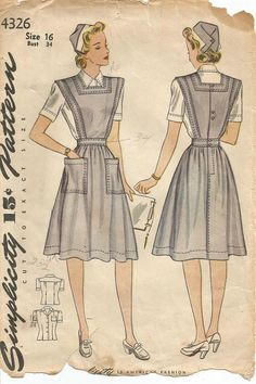 Simplicity 4326; ©1942; Official Red Cross Nurses Aide Uniform. The blouse fronts are turned under to form facings and pleats are released below the