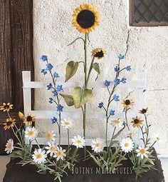1-12-Flower-Cottage-Garden-Daisy-Sunflower-Plants-Landscaping-Artisan-Made