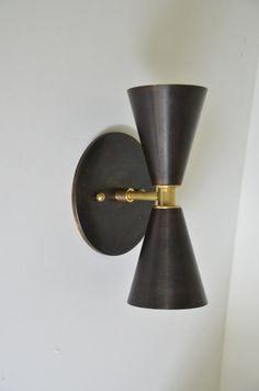 Smokey Blacken Brass sconce Madonna - Solid Brass Cone light. Modern mid century wall sconce lamp UL LISTED