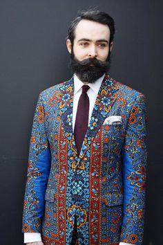 Intense Floral Paisley print suit men style