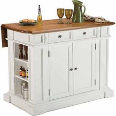 Home Styles White and Oak Finish Large Kitchen Island - The new modern kitchen design often combines crisp white with old-fashioned wood tones to create a style that is both welcoming and refined. Kitchen Island Cart, Large Kitchen Island, Kitchen Carts, Kitchen Cabinets, Kitchen Appliances, Small Island, Oak Kitchen Remodel, Island Stools, Island Bench