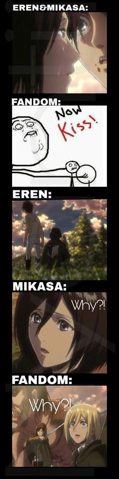 Why?! Baka Eren. I ship Mikasa and Eren very hard so I'm sad. #AOT #Eremika #Eren #Mikasa #Kiss #Sad