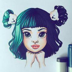 Copic Drawings, Cartoon Drawings, Easy Drawings, Cartoon Art, Melanie Martinez Drawings, Marker Art, Cry Baby, Art Sketches, Cute Art