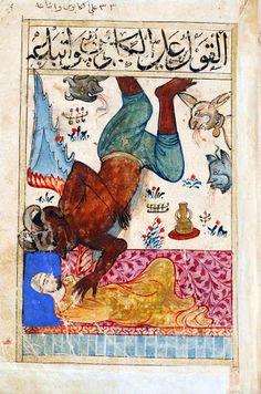 Flying jinn, 14th century manuscript. Kitab al-Bulhan