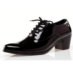 Men Black Patent Leather Lace Up High Heel Wedding Prom Dress Shoes SKU-1100342