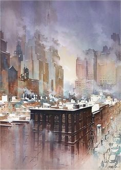 In the Deep Midwinter by Thomas W. Schaller Watercolor ~ 30 Inches x 22 Inches