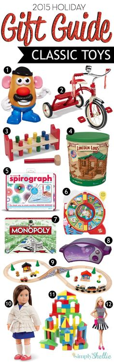 Ditch the high-tech toys this season and go retro with these Classic Toys.  From Lincoln Logs to Barbie Dolls, this list has all the iconic toys you really should be gifting this year!