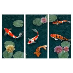 "Koi Pond 40"" Canvas Giclee Print (Set of 3)"