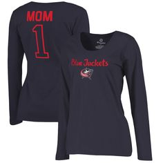 Columbus Blue Jackets Fanatics Branded Women's Plus Sizes Number 1 Mom Long Sleeve T-Shirt - Navy