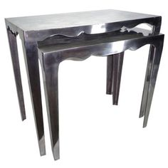 Coast to Coast 63111 Two Tier Nesting Table in Aluminum