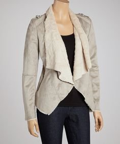 Take a look at this Gray & Cream Faux Fur Jacket by Fantazia on #zulily today!
