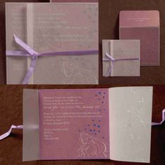 Baby Shower Invitation - Light/pastel purple shade with satin ribbon and tracing, printed