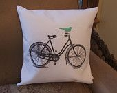 Bicycle pillow cover, graphic throw pillow cover, bird on bike