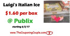 new Q! Luigi's Real Italian Ice 6 pk even less ($1.35) @ Publix thru 6/23  Click the link below to get all of the details ► http://www.thecouponingcouple.com/luigis-real-italian-ice-6-pk-only-1-60-publix/ #Coupons #Couponing #CouponCommunity  Visit us at http://www.thecouponingcouple.com for more great posts!