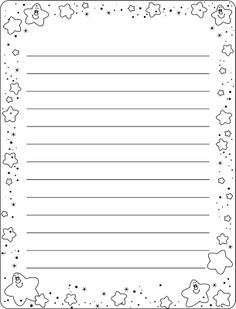 Writing Paper with Star Border by Doshi Designs Printable Lined Paper, Free Printable Stationery, Work Planner, Cute Journals, Letter Writing, Writing Papers, Borders For Paper, Journal Paper, Bullet Journal Ideas Pages