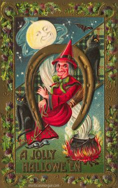 Heavily embossed German Halloween postcard with a witch surrounded by horseshoes, thistles and black cats.