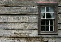 rustic window on an old mountain cabin