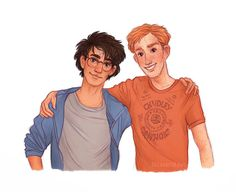"""susannedraws: """" Coloured Harry & Ron Btw that Chudley Cannons shirt really exists! :D """""""
