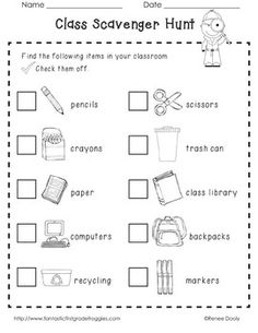 Backpack Bonanza- Back to School Primary Fun.  Classroom supply scavenger hunt along with many other activities to start the year off!