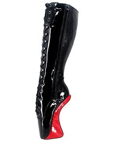 WONDERHEEL 7″ heelless Knee High Ballet Shoes Patent Fetish Lacing Ballet Boots Review