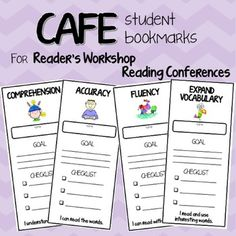 These bookmarks allow teachers to personalize the CAFE menu and reading strategies for each student during individual reading conferences.The four bookmarks align to the four reading components of CAFE - Comprehension, Accuracy, Fluency and Expand Vocabulary.The bookmarks have a place for student name, along with a place for the teacher to write a GOAL the student is working towards and a CHECKLIST for the student to help him or her achieve their goal.The bookmarks also include an I CAN…