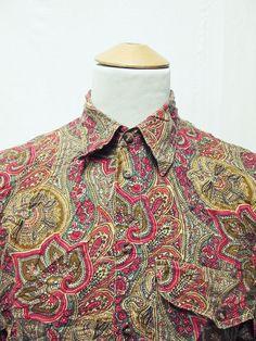 Vintage 90s Paisley Mod Dandy Psychedelic Crazy Pattern Shirt Medium