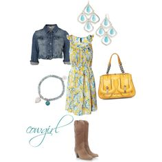 Sun dress jean jacket and boots, love this!!