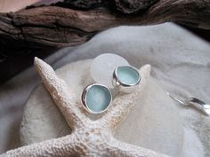 Sea Glass Jewelry - Fish Eyes - Sea Foam Bezel Set Sea Glass Stud Earrings - Other Colors Available.