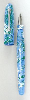 Custom fountain pen that I made from my own resin.  I swirled four colors - light blue base with dark blue, green and white accent swirls.  It is a standard sized Gallatin, with 12mm cap/barrel threads.