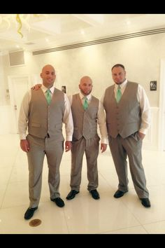 Gray and tiffany blue grooms men. All under $80 at Perry Ellis. Before you decide to rent look around different stores for matching pants and vest. Save money by skipping the jacket/blazer.