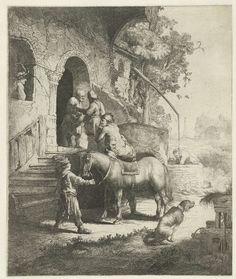 Salomon Savery | De barmhartige Samaritaan, Salomon Savery, 1633 - 1678 | Kopie naar de gelijknamige prent van Rembrandt.