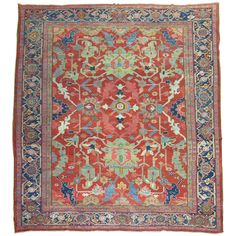 Antique Persian Heriz | From a unique collection of antique and modern persian rugs at https://www.1stdibs.com/furniture/rugs-carpets/persian-rugs/