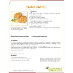 Recipe for delicious Crab Cakes for those who are dieting. This is wonderful weight loss recipe for those who are want to reduce weight from California Medical Weight Management. For more visit - Best Weight Loss Program, Fast Weight Loss, How To Lose Weight Fast, Reduce Weight, Losing Weight, Cider Vinegar Weightloss, Fat Burning Diet Plan, Low Carb Cheesecake Recipe, Vinegar Weight Loss