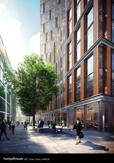 Crown Place London - KPF Scheme 2015 - Tom Spall Visuals by spally China Architecture, Brick Architecture, Contemporary Architecture, 3d Architectural Visualization, Architecture Visualization, Retail Facade, Urban Design Diagram, Timber Buildings, Best Build